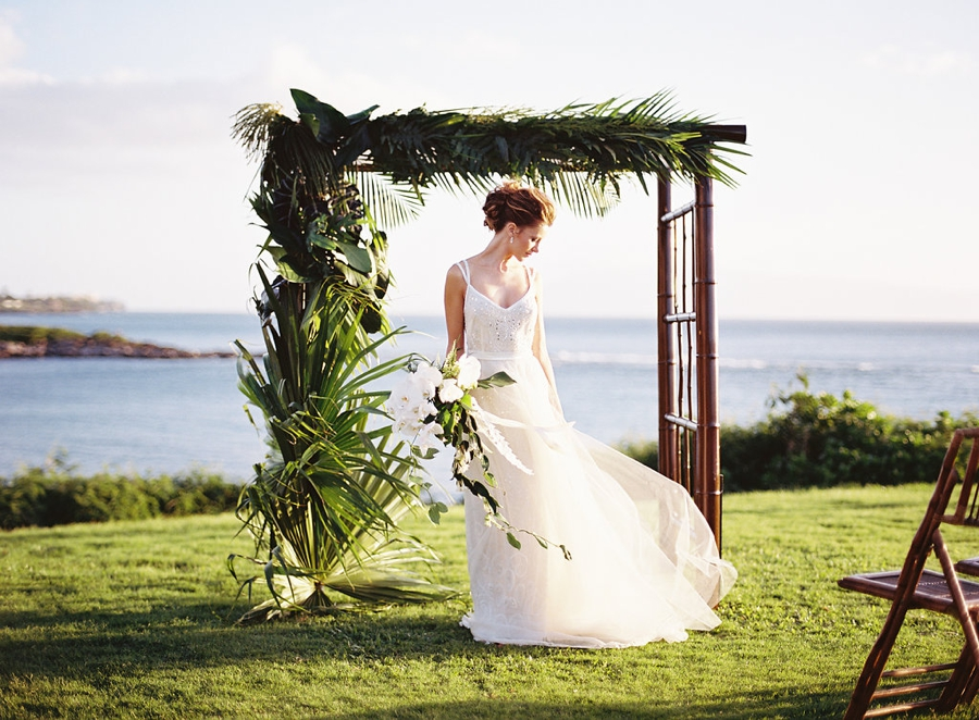 Maui montage tropical wedding inspiration for Honolulu wedding dress rental